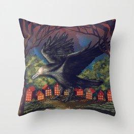 Raven Moonlight Witches Halloween Night Throw Pillow