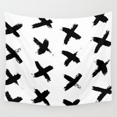 X Marks the Spot Black Ink on Paper Wall Tapestry