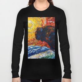 Bison Running print of OLena Art Wild the Storm Oil Painting With Palette Knife #society6 Long Sleeve T-shirt