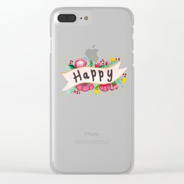 Watercolor Happy Flowers Banner Clear iPhone Case