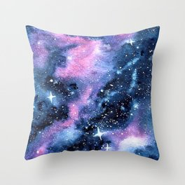 Twinkling Pink Watercolor Galaxy Throw Pillow