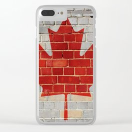 Canada flag on a brick wall Clear iPhone Case