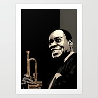 louis armstrong Art Prints featuring Louis Armstrong by f_e_l_i_x_x