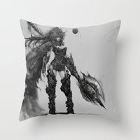 knight Throw Pillows featuring knight by ururuty