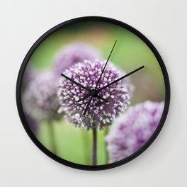 Purple Poms Wall Clock