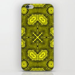 Victorian Art Deco Medieval Pattern bright yellow SB26/5 iPhone Skin