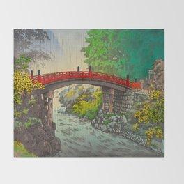 Vintage Japanese Woodblock Print Garden Red Bridge River Rapids Beautiful Green Forest Landscape Throw Blanket