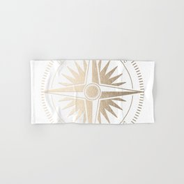 Gold on White Compass Hand & Bath Towel