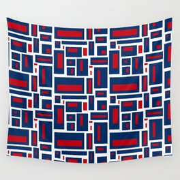 Modern Geometric in Red, White and Blue Wall Tapestry
