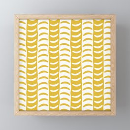 Wavy Stripes Mustard Yellow Framed Mini Art Print