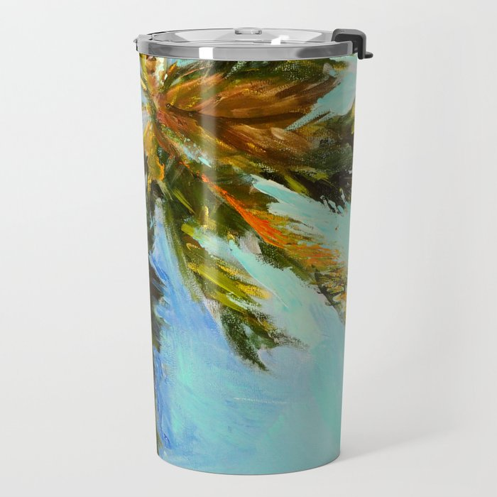 Akumal Palm Tree Painting Travel Mug
