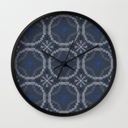 Stitched Bubbles Blue Wall Clock