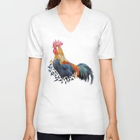 rooster V-neck T-shirts featuring Rooster by JumperCat