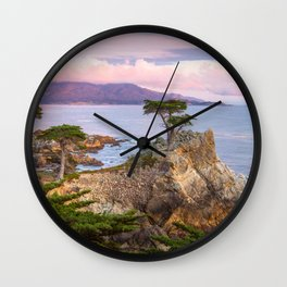 Lone Cypress Spring Sunset Wall Clock