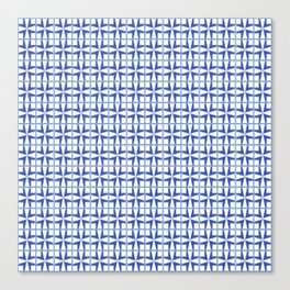 Squares and triangles pattern blue Canvas Print