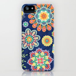 Folky Flora-blue iPhone Case