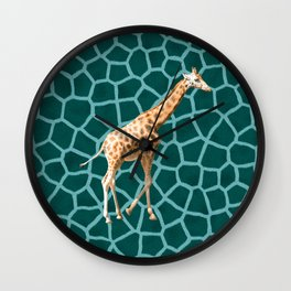 African Giraffe on Blue Camouflage Wall Clock