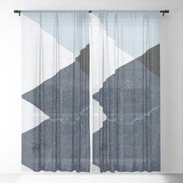 Geometrics II - blue marble & silver Sheer Curtain