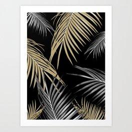 Gold Gray Palm Leaves Dream #1 #tropical #decor #art #society6 Art Print