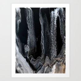 Black and White Acrylic Swipe Abstract Art Print
