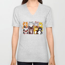 Happy Smiling Cats Unisex V-Neck