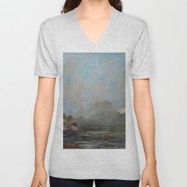 "Gustave Courbet ""Lake Geneva (Le Lac Léman - La Dent du midi)"" Unisex V-Neck"