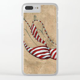 Red and white stripes Clear iPhone Case