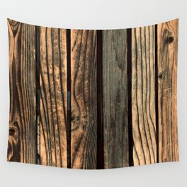 Urban Industrial Repurposed Wooden Planks Wall Tapestry