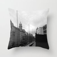 barcelona Throw Pillows featuring Barcelona. by Michaëlis Moshe