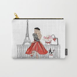 Girl in Paris with French bulldog fashion illustration  Carry-All Pouch