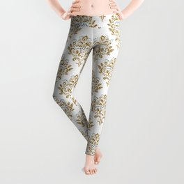 Crafted Damask Inspired Gold Pattern with Blue Accents Leggings