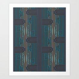 art deco stripe Art Print