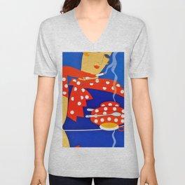 "Art Deco Illustration ""Coffee and Cigarettes"" Unisex V-Neck"