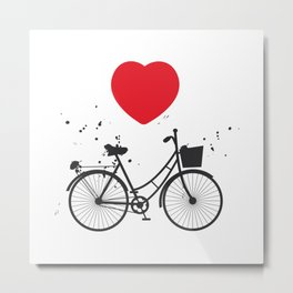 black bicycle silhouette and red heart on white background Metal Print