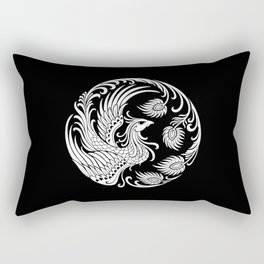 Traditional White and Black Chinese Phoenix Circle Rectangular Pillow
