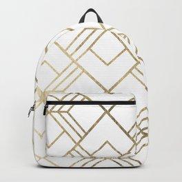Geometrical white faux gold elegant stylish diamonds Backpack