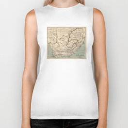 Vintage Map of South Africa (1889) Biker Tank