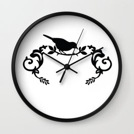Bird Frame in Black and White Wall Clock