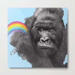 gorilla with rainbow Metal Print