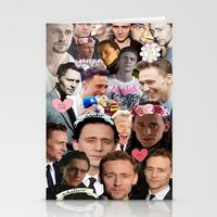tom hiddleston Stationery Cards featuring Tom Hiddleston/Loki Collage by chiefmarvelous