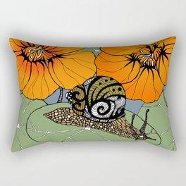 Snail on Nasturtiums Rectangular Pillow