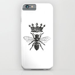 Queen Bee No. 1 | Vintage Bee with Crown | Black and White | iPhone Case