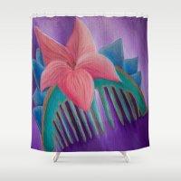 mulan Shower Curtains featuring Mulan Flower by Jgarciat