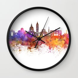 Messina skyline in watercolor background Wall Clock
