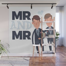 Mr and Mr gay wedding Wall Mural