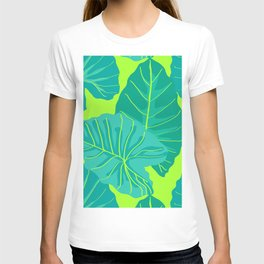Giant Elephant Ear Leaves in Neon Lime Green T-shirt