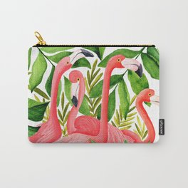 Flamingo and tropical branches Carry-All Pouch