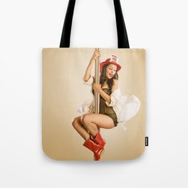 """Four-Alarm Flirt"" - The Playful Pinup - Firefighter Girl Pin-up by Maxwell H. Johnson Tote Bag"