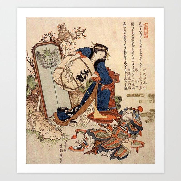 The Strong Oi Pouring Sake by Katsushika Hokusai Kunstdrucke