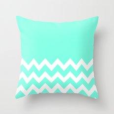 Mint Chevron Colorblock Throw Pillow